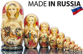 Set of 10 Large Semenov Traditional Matryoshka Russian Nesting Dolls 10.25 Inche