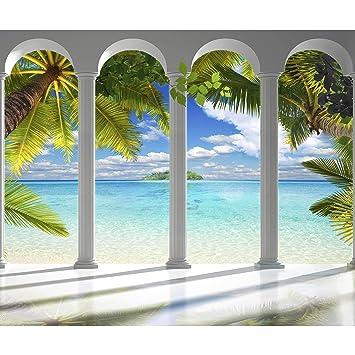 decomonkey Fototapete Meer Insel 300x210 cm XL Tapete Fototapeten Vlies  Tapeten Vliestapete Wandtapete moderne Wandbild Wand Schlafzimmer  Wohnzimmer ...