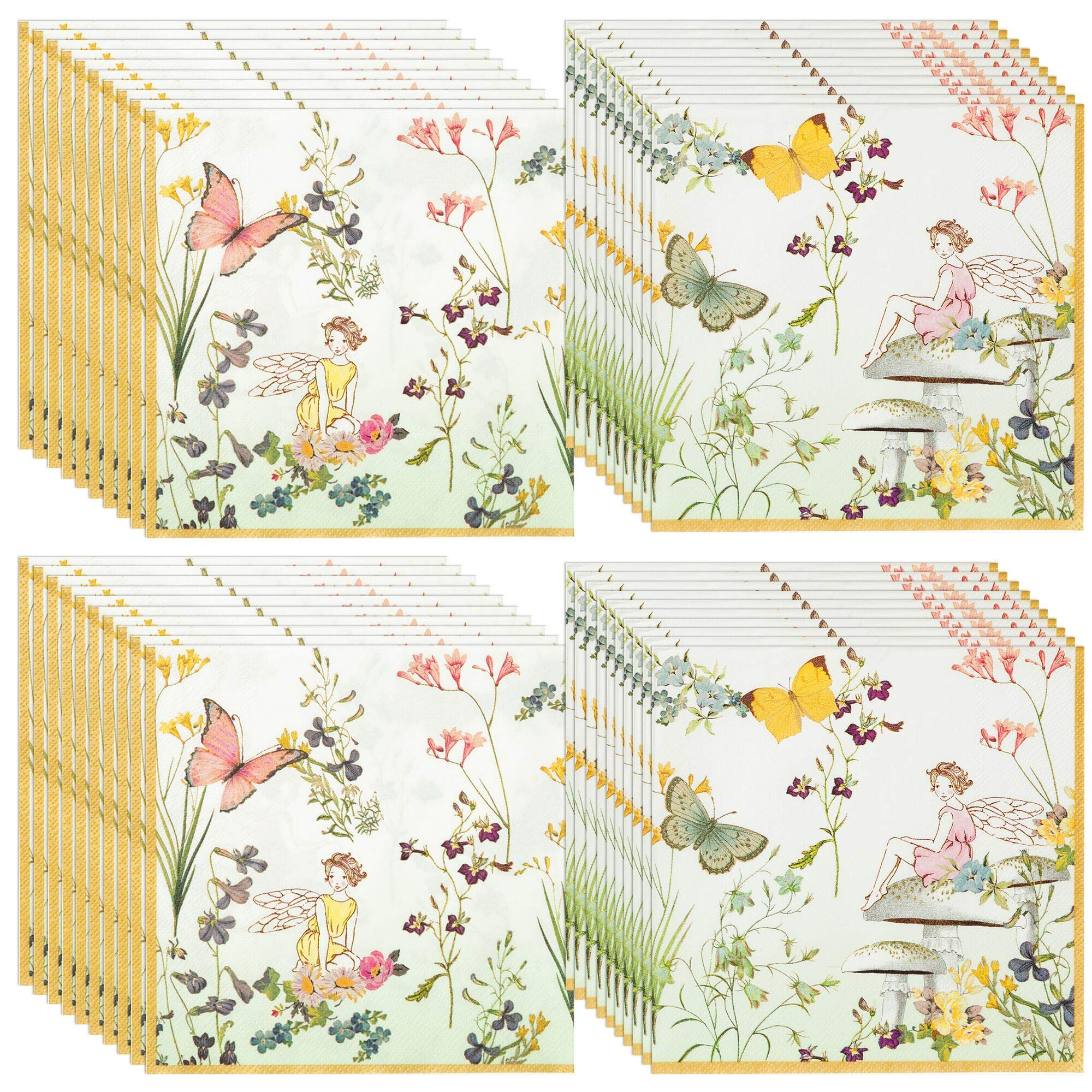 Talking Tables Truly Fairy Paper Napkins (13 inch) for a Birthday Party or Tea Party, Multicolor (40 Pack) by Talking Tables