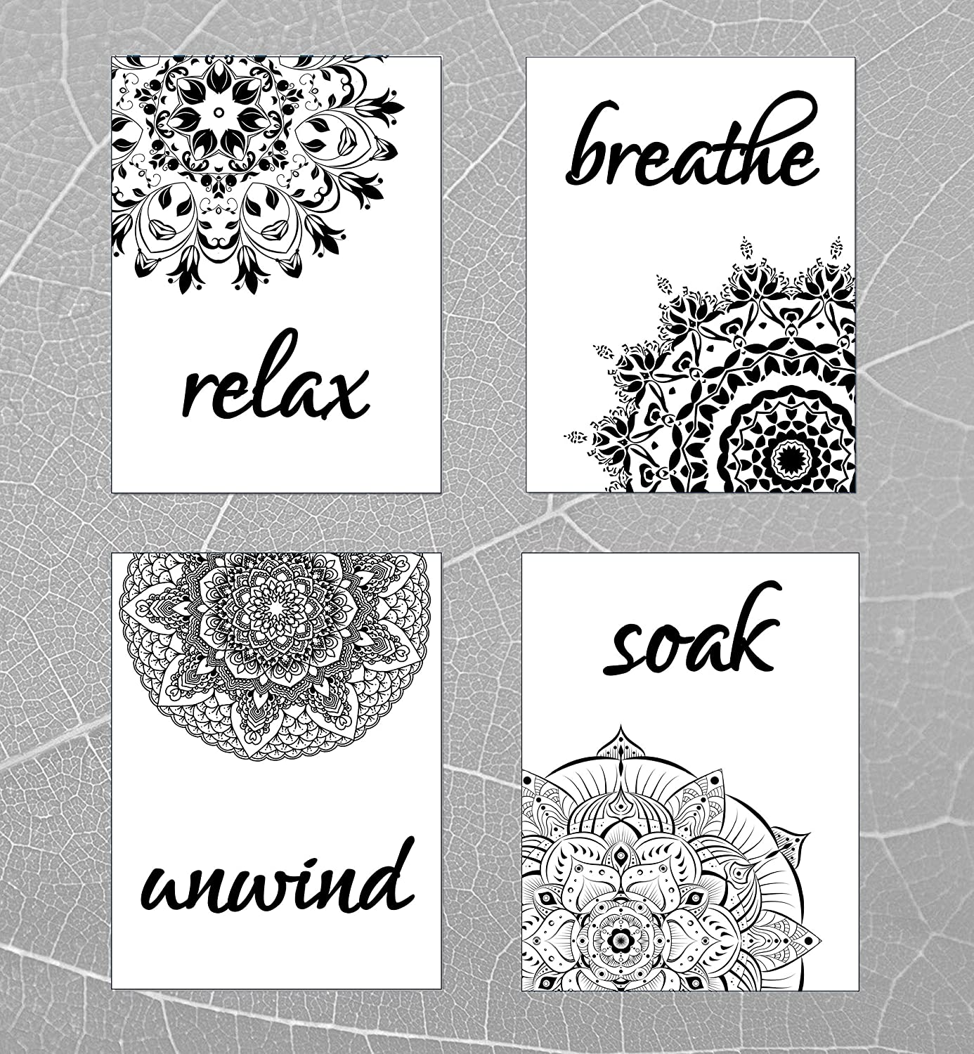 Mandala Flower Bathroom Wall Decor Quotes and Sayings - Set of 4 – Unframed - Great Gift for Bathroom Art Prints Signs