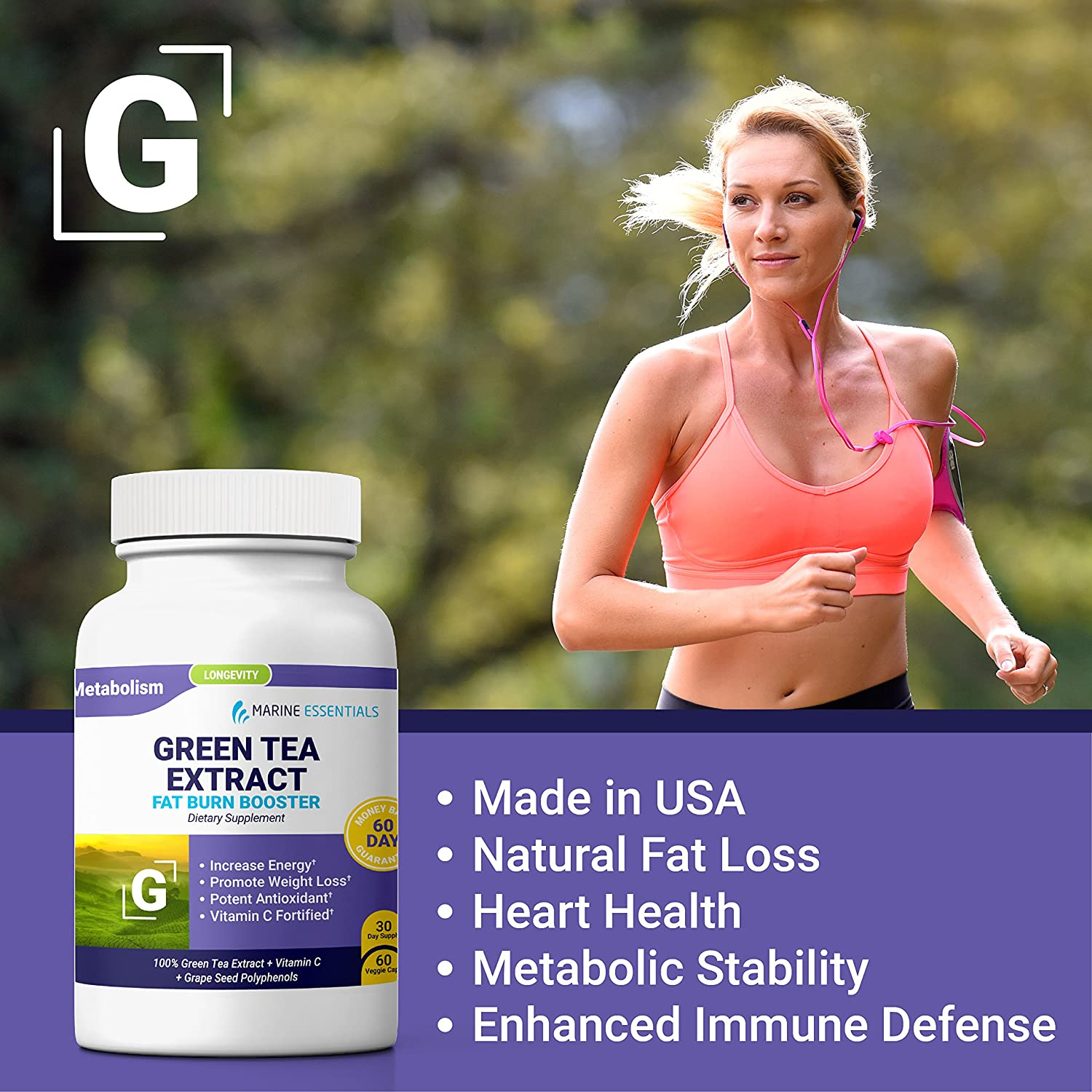 Marine Essentials Green Tea Extract – Green Tea Extract Natural Weight Loss Supplement with Vitamin C and Antioxidant Grape Seed Extract 120 Fat Burner Capsules