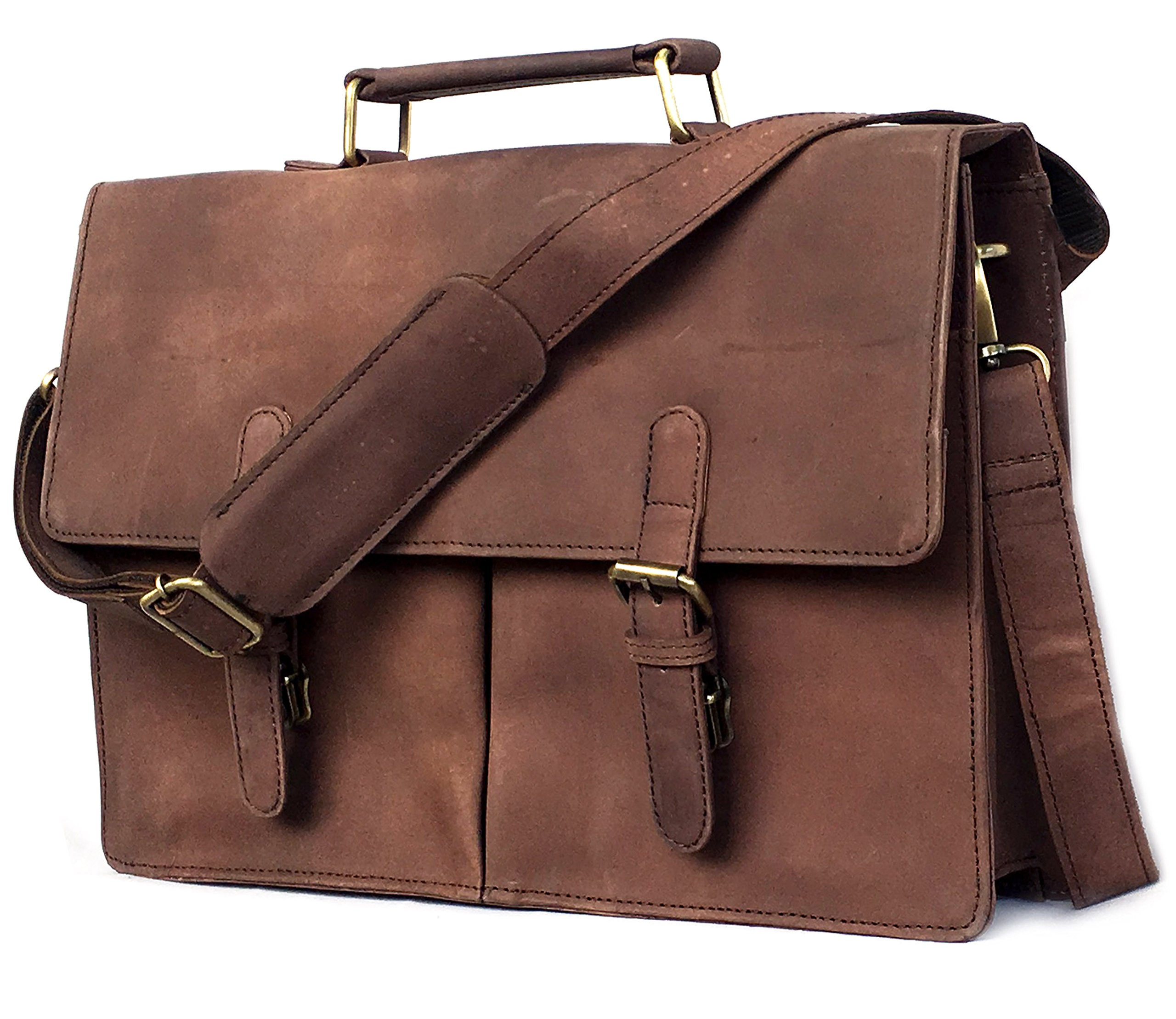 DHK 16 Inch Retro Buffalo Hunter Leather Laptop Messenger Bag Office Briefcase College Bag leather bag for men and women