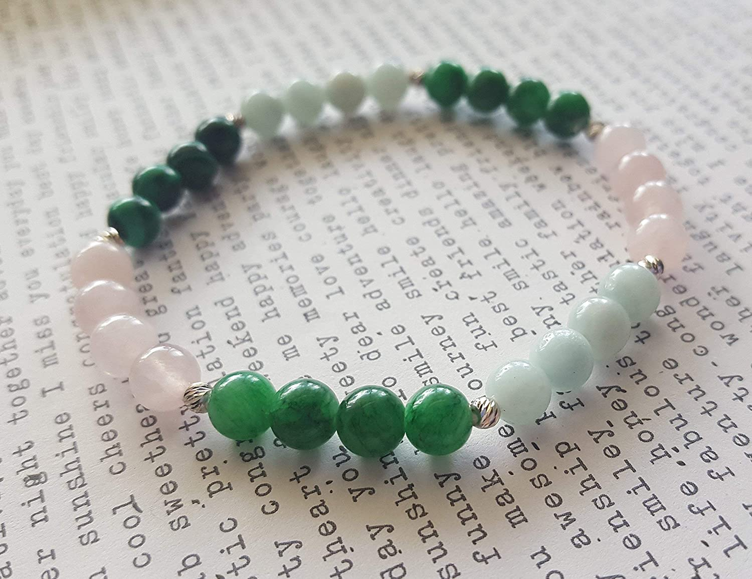 Gemstone Bracelet, True Love, Soulmate, Heart Chakra, Balance, Harmony, Empath, Rose Quartz, Malachite, Amazonite, Green Jade