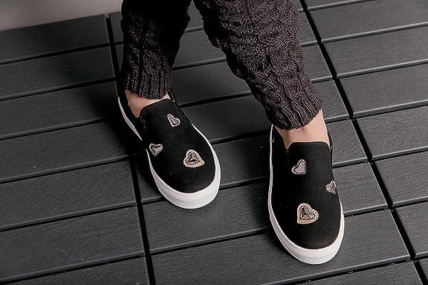 f74518f2dd5e3 Girls (Little Kid/Big Kid) Pewter Metallic/Black Suede Hearts Leather  Slip-On Fashion Sneakers