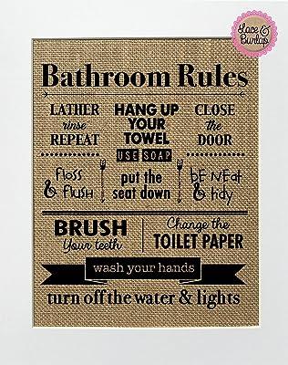 8x10 UNFRAMED Bathroom Rules / Burlap Print Sign / Rustic Country Shabby Chic Vintage Decor Sign Love House Sign Bathroom Decor