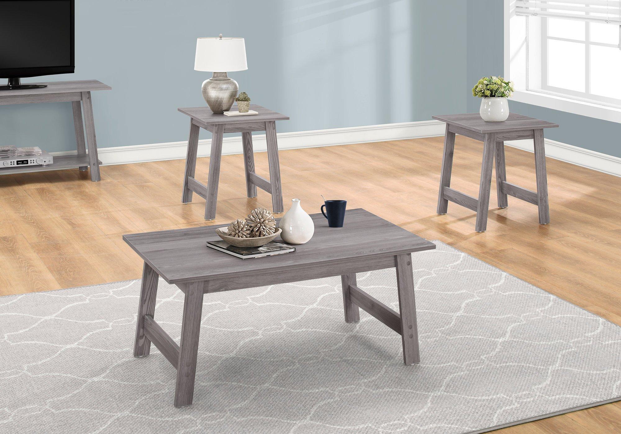 Monarch Specialties I I 7932P Table SET-3PCS Set, Grey by Monarch Specialties