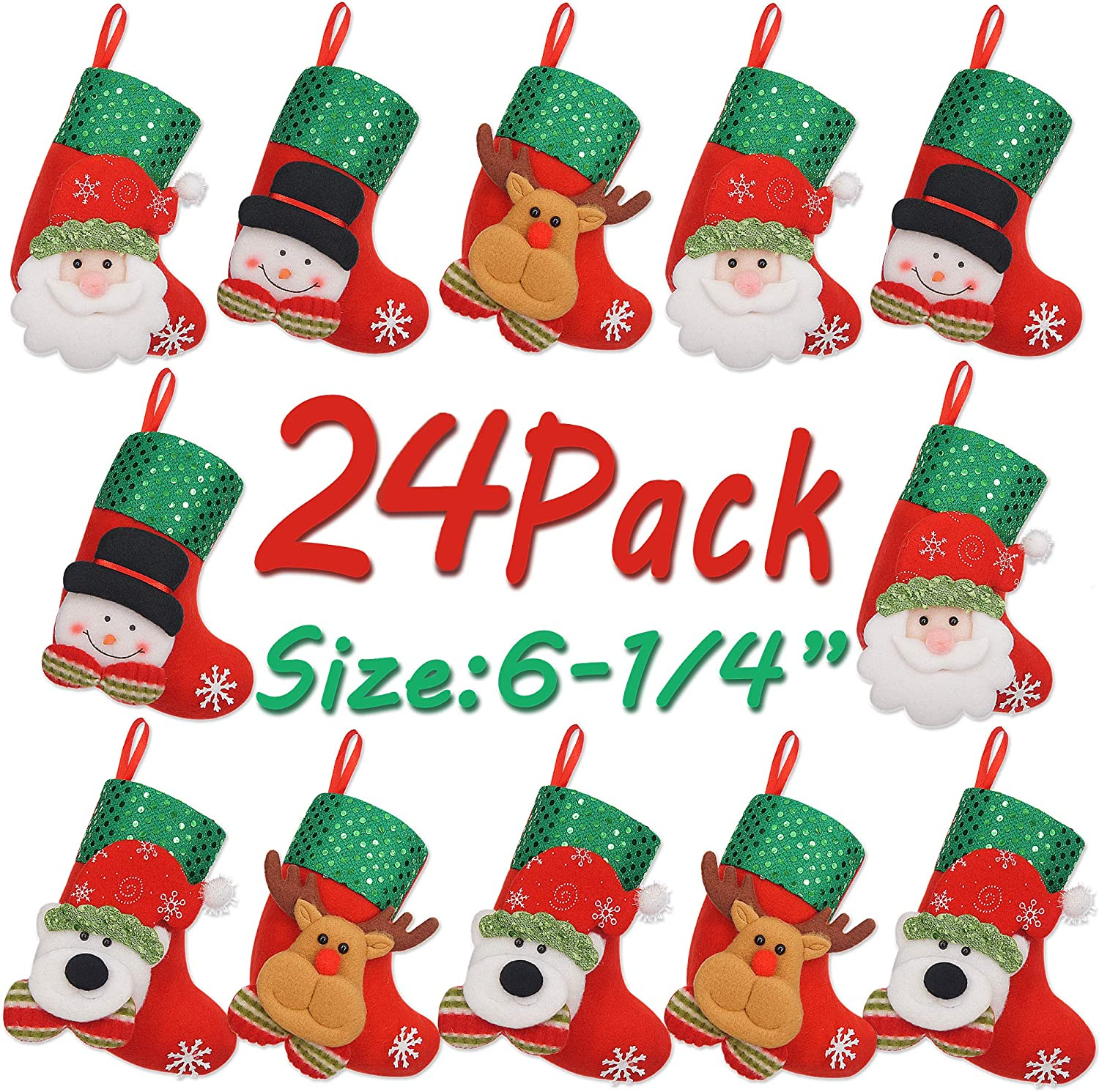 LimBridge Christmas Mini Stockings, 24 Pack 6.25 inches 3D Sequin Gift Card Bags Holders, Bulk Treats for Neighbors Coworkers Kids Cats Dogs, Small Rustic Felt Xmas Tree Decorations Set