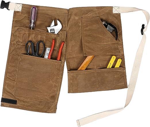 qees carpintería herramientas delantal de alta resistencia taller delantal marrón encerado soporte bolsa para herramientas 10 bolsillos cinturón de herramientas resistente al agua Cintura Pack Gadgets/herramientas para hombres gjb44: Amazon.es: Jardín