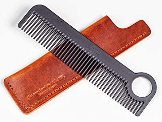 product image for Chicago Comb Model 1 Carbon Fiber Comb + English Tan Horween leather sheath, Made in USA, ultimate pocket and travel comb, ultra smooth strong & light, anti-static, premium American leather sheath