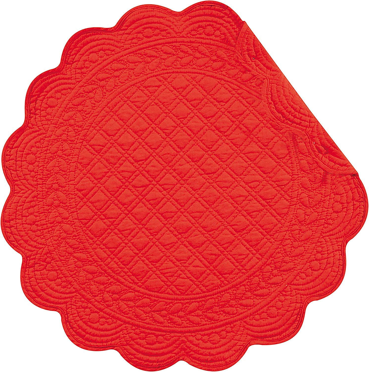 C&F Home Red Cotton Quilted Round Patriotic 4th of July Memorial Day Labor Day Americana Liberty Cotton Placemat Set of 6 Round Placemat Set of 6 Red