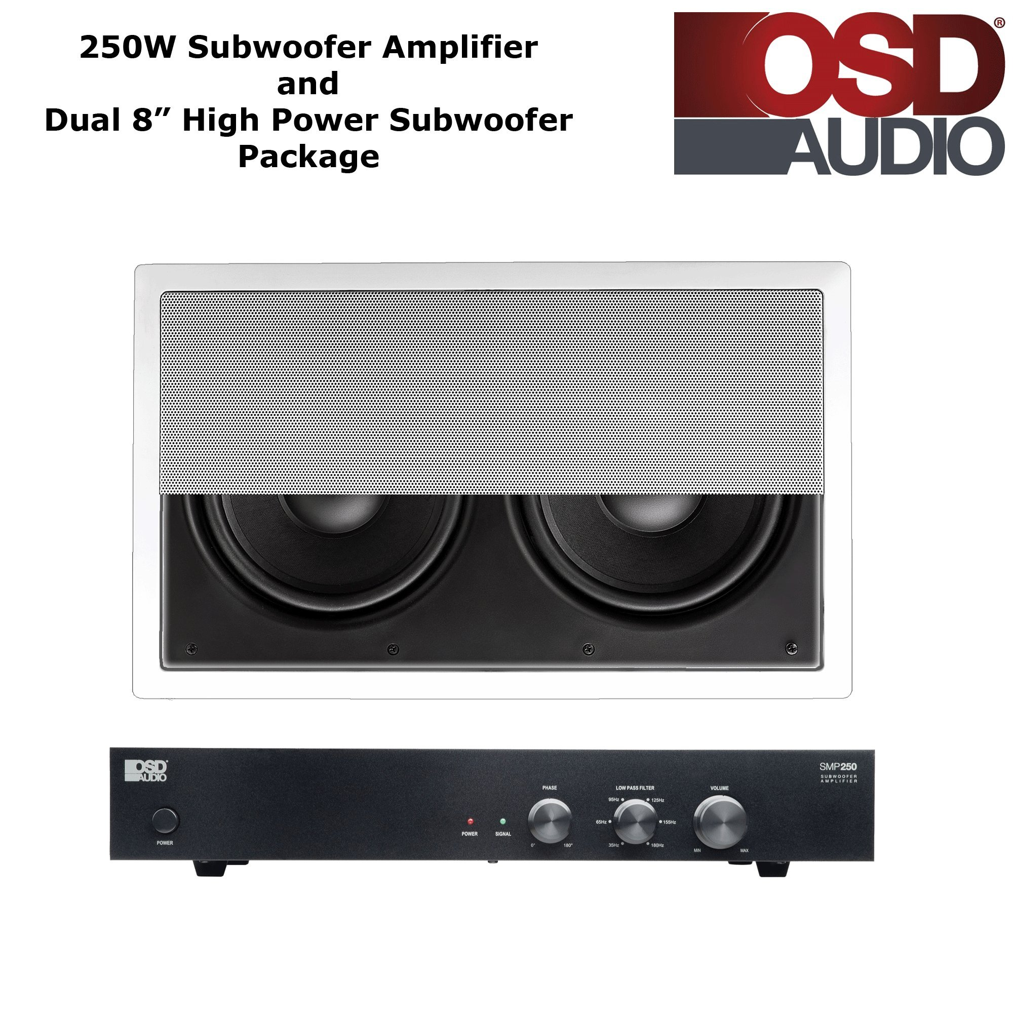 OSD Audio 250W High Current A/B Subwoofer Amplifier with Dual 8'' Injected Woofer Home Theater Subwoofer Package