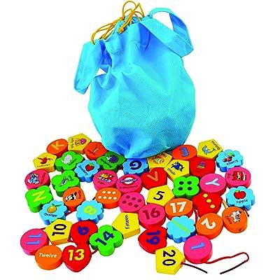 Toys of Wood Oxford Cuentas de Madera Jumbo con 46 Piezas Alfabeto de Madera y Bloques de números - Cuentas de Madera para Atar para niños: Juguetes y juegos