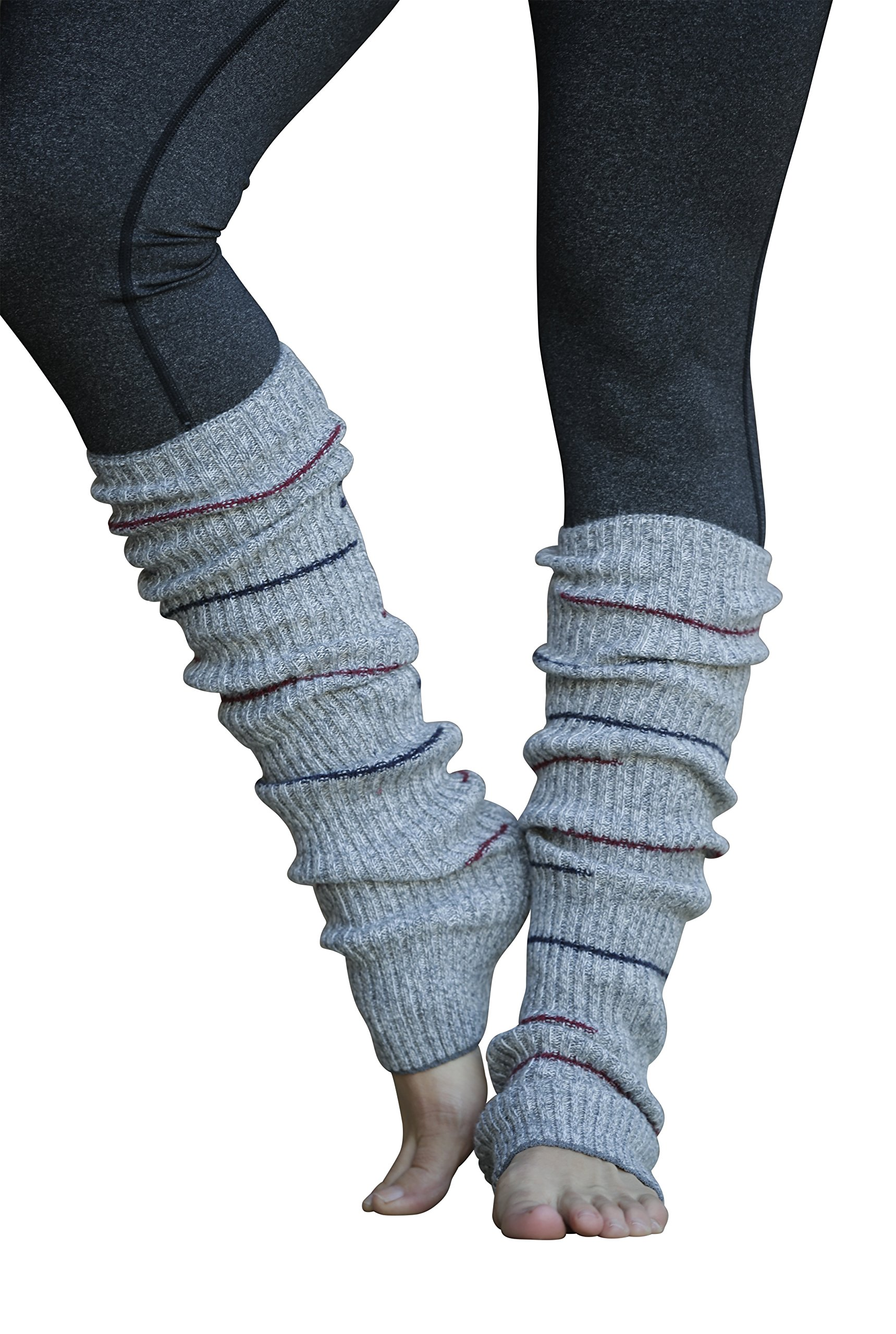 Lucky Love (TM) Striped Multicolor Reversible Knit Leg Warmers (Grey Small Stripe)