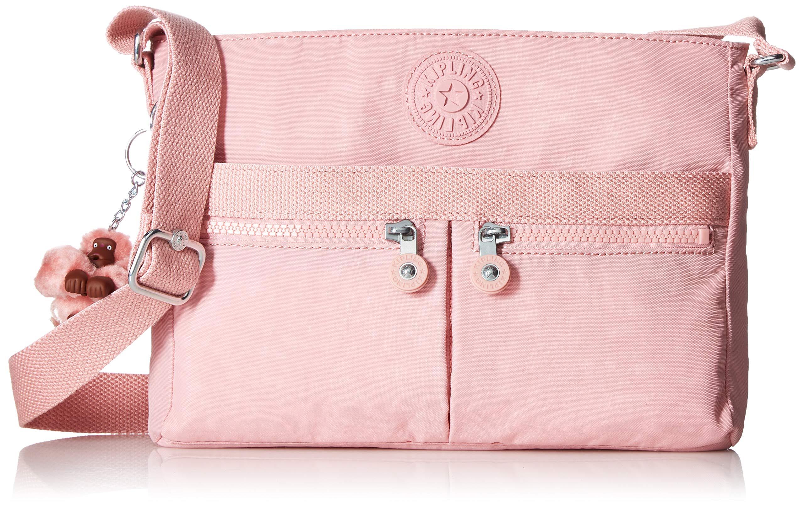 Kipling Women's Angie Crossbody Bag, Adjustable Shoulder Strap, Zip Closure, strawberry pink tonal