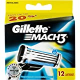 Gillette Mach3 Razor Blades Refill Cartridges (12 Pack), Packaging may vary