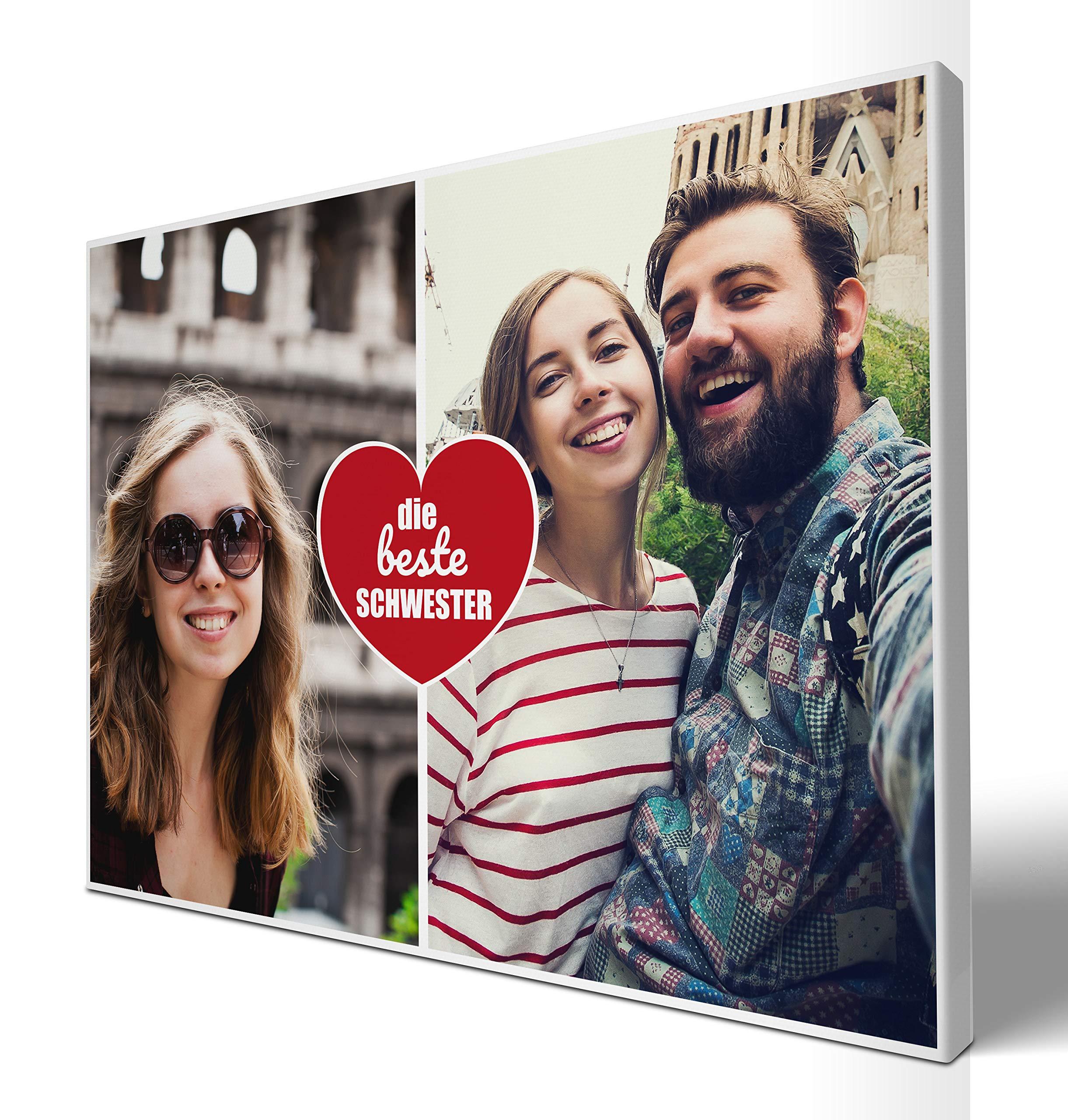wandmotiv24 Leinwandbild Beste Schwester, querformat 80x60cm (BxH), Collage 2 Fotos, Geschenkidee für Frauen, Ihre Bilder auf Leinwand, originelle Geschenke für Schwestern Dankeschön M0023 Bild