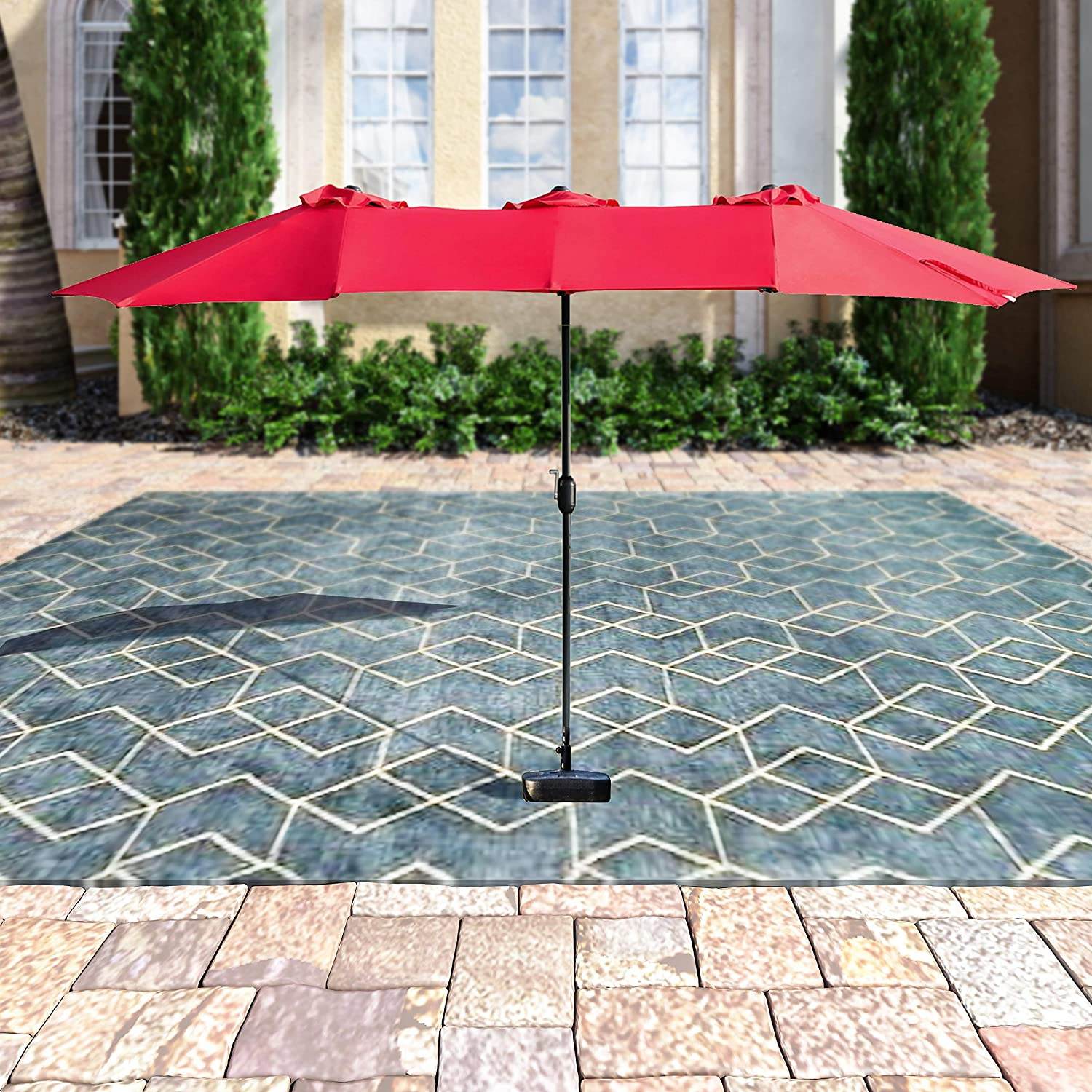 Middle, Brown PatioFestival Double-Sided Outdoor Umbrella,15x9 Feet Aluminum Garden Large Umbrella with Crank for Market,Camping,Swimming Pool