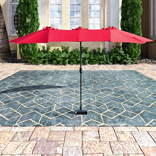 PatioFestival Double-Sided Outdoor Umbrella,15×9 Feet Aluminum Garden Large Umbrella with Crank for Market,Camping,Swimming Pool Middle, Red