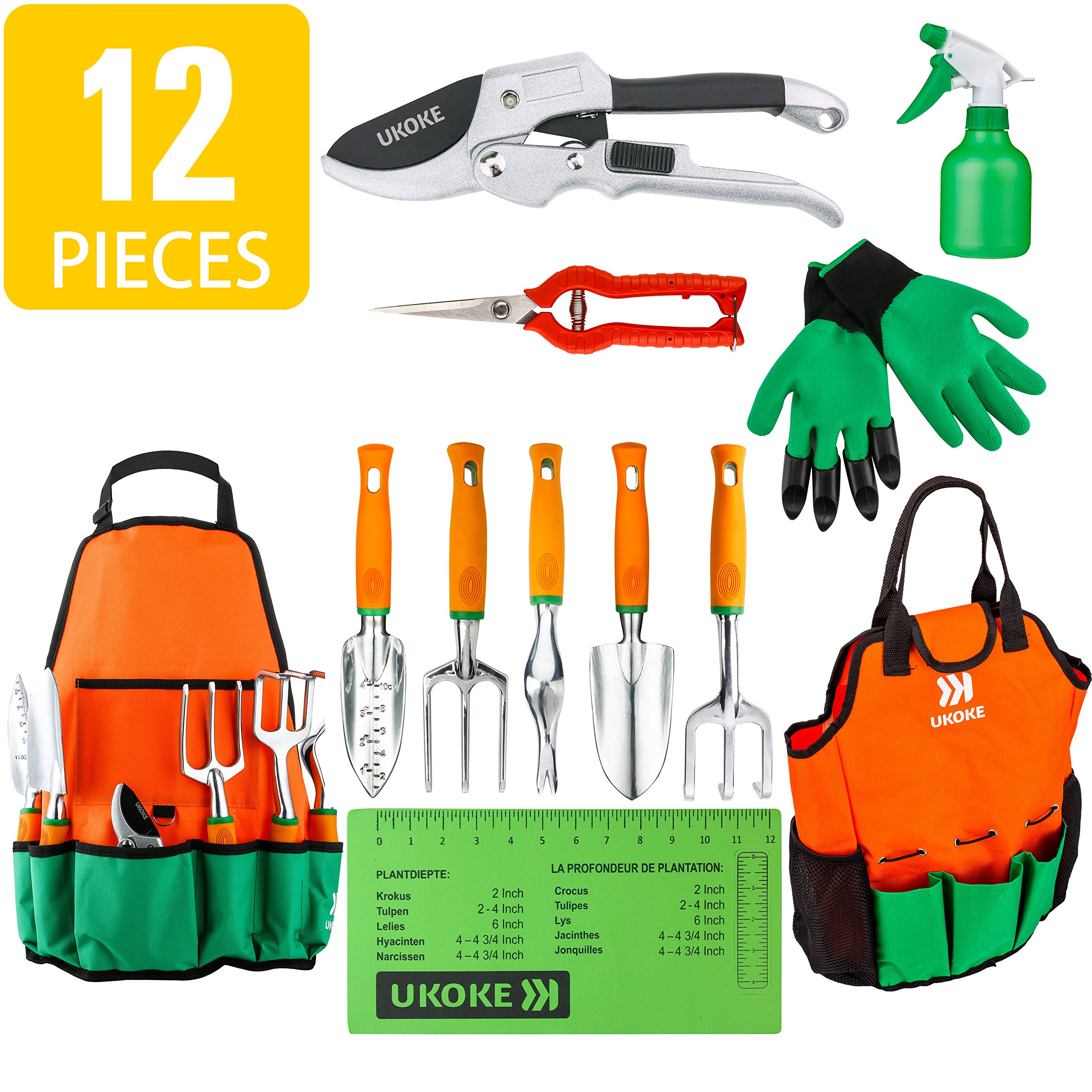 UKOKE Garden Tool Set, 12 Piece Aluminum Hand Tool Kit, Garden Canvas Apron with Storage Pocket, Outdoor Tool, Heavy Duty Gardening Work Set with Ergonomic Handle, Gardening Tools for women men by UKOKE