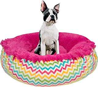 product image for Bessie and Barnie Ocean Wave/ Lollipop Luxury Shag Ultra Plush Faux Fur Bagelette Pet/Dog Bed (Multiple Sizes)