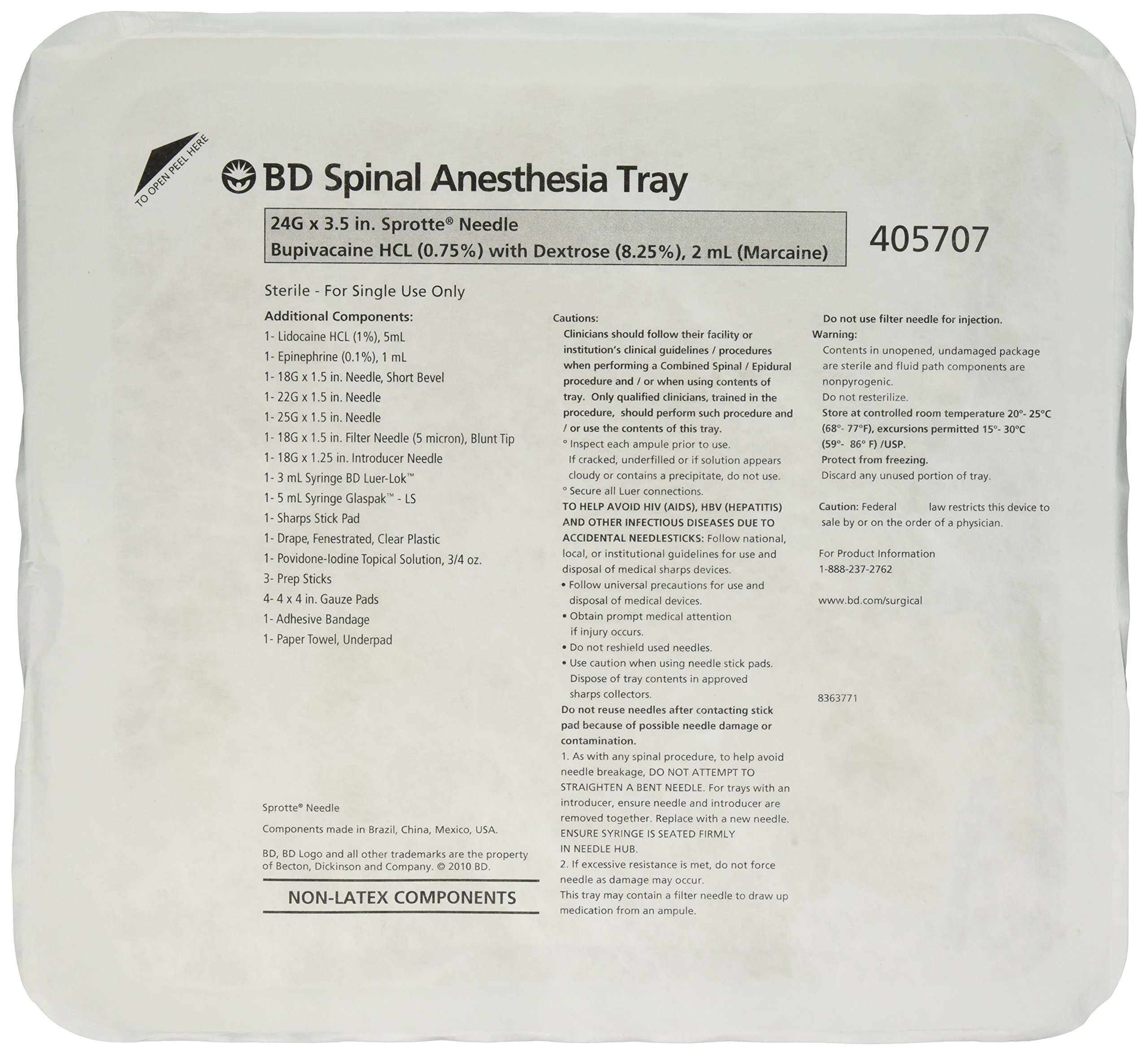 BD Medical Systems 405707 Whitacre Spinal Tray with 24 Gauge x 3 1/2'' Sprotte Needle