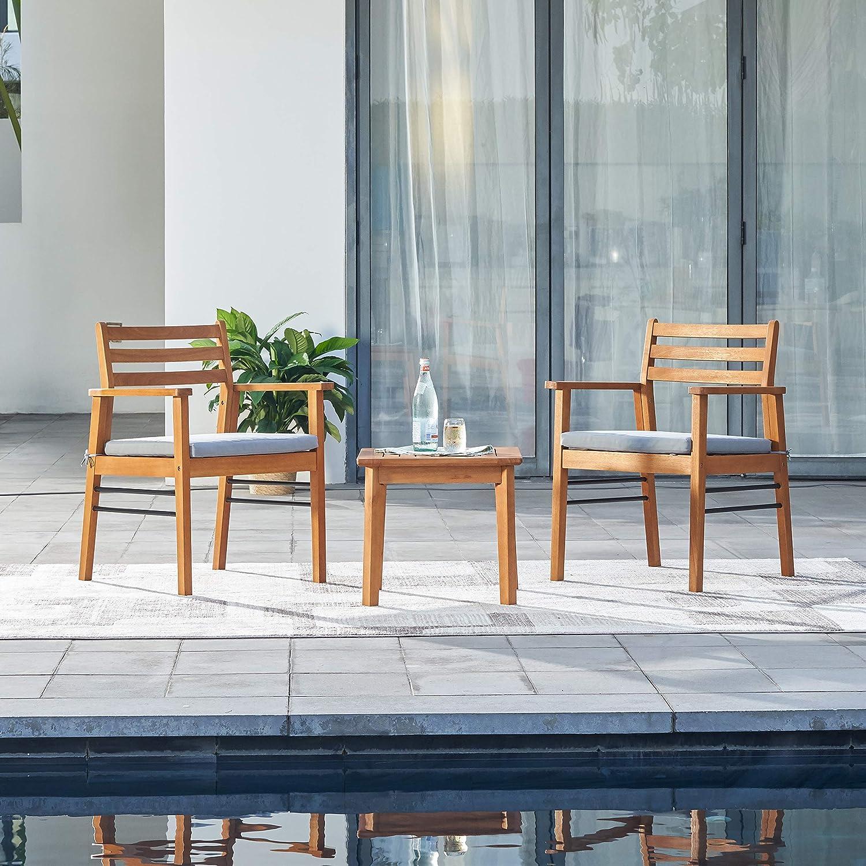 Vifah Gloucester Teak Like 3 Piece Conversation Set Golden Oak Wood Color Furniture Decor