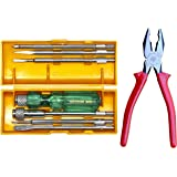 Taparia 840 Screw Driver Set with Neon Bulb (Silver and Green) + Taparia Insulated Lineman Combination Cutting Plier