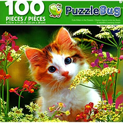 Cute Kitten in The Flowers - PuzzleBug - 100 Piece Jigsaw Puzzle: Toys & Games