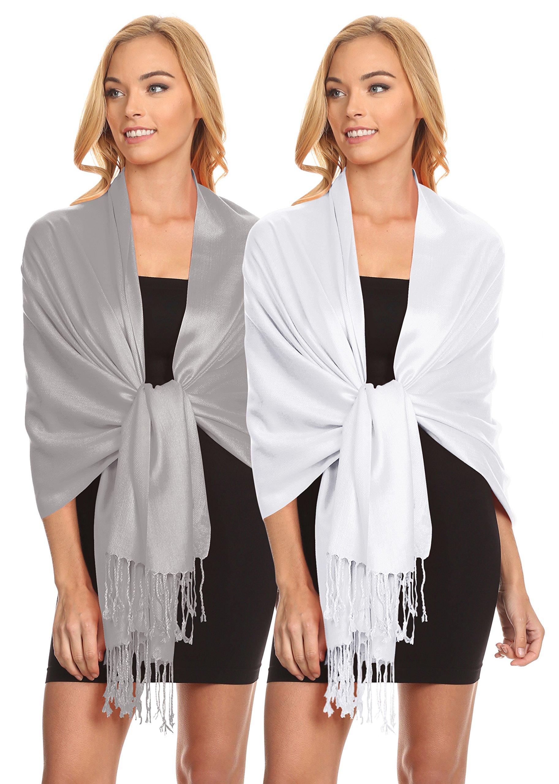 Simlu Womens Scarfs Silky Pashmina Shawl Wrap Scarves for Women Stole Shawls (Size One Size, 2 Pk Silver/White) by Simlu