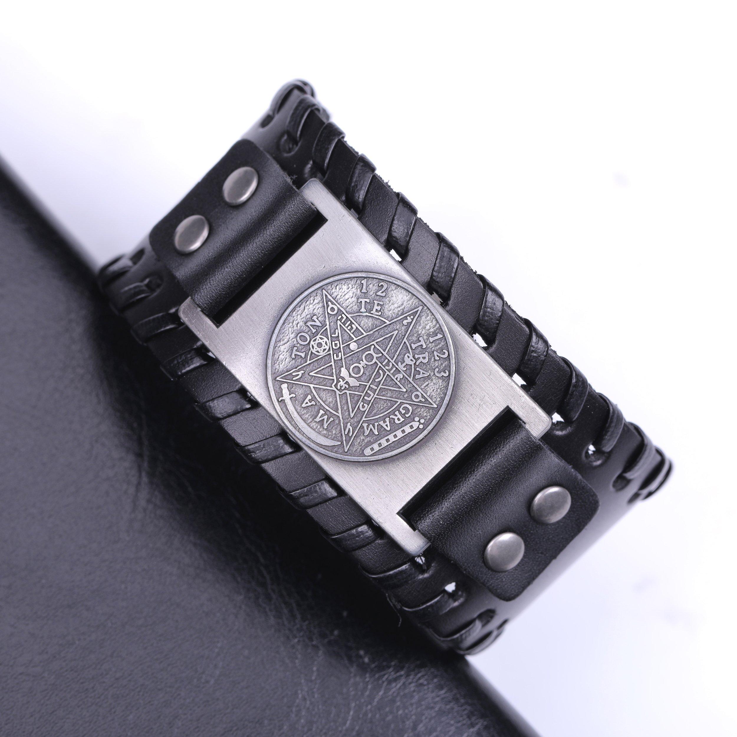 Pagan Viking Tetragrammaton Pentacle Symbol Talisman for Love Braided Wide Leather Wristband Bracelet (Antique Silver,Black) by Skyrim (Image #2)