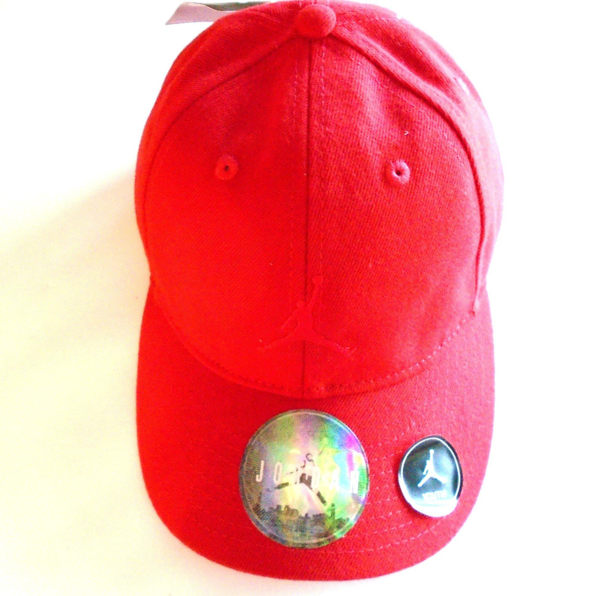 NIKE Michael Jordan Air Jumpman Hat Adjustable Back Court Cap (Classic Bull's Red) Youth 8-20