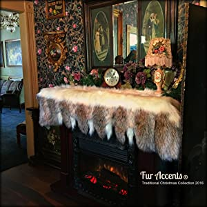 Fur Accents Fireplace Mantle Valance - Garland - Scarf - Christmas Decoration - White Faux Fur with Gray Wolf and Fox Tail Trim - Wonderland Creations (6'x2')