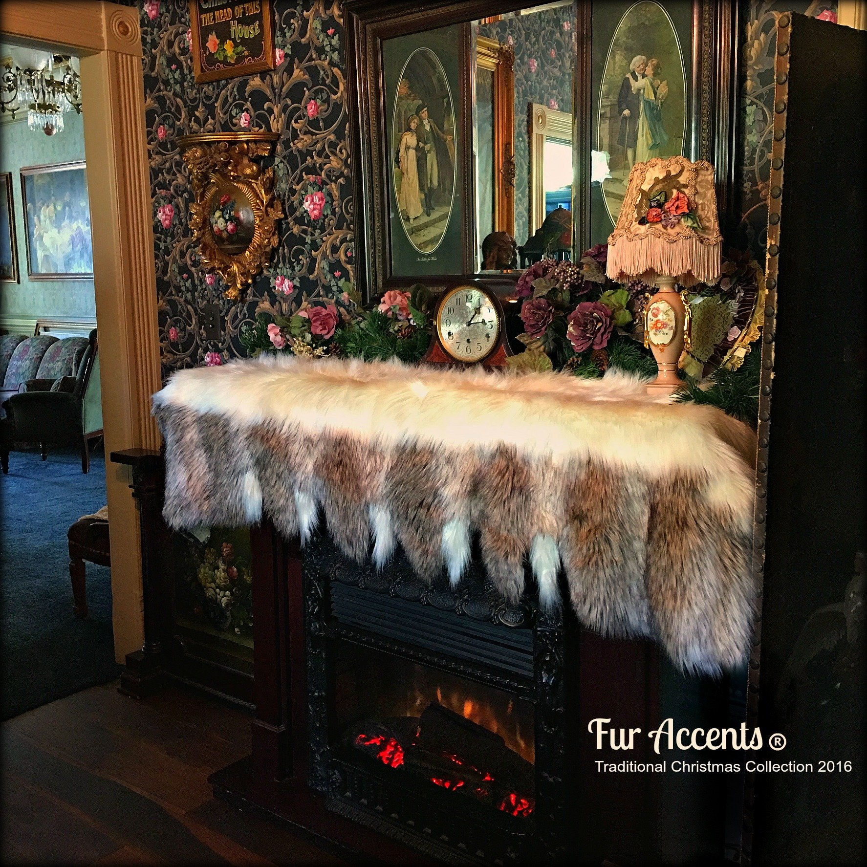 Fireplace Mantle Valance - Garland - Scarf - Christmas Decoration - White Faux Fur with Gray Wolf and Fox Tail Trim - Wonderland Creations by Fur Accents (6'x2')