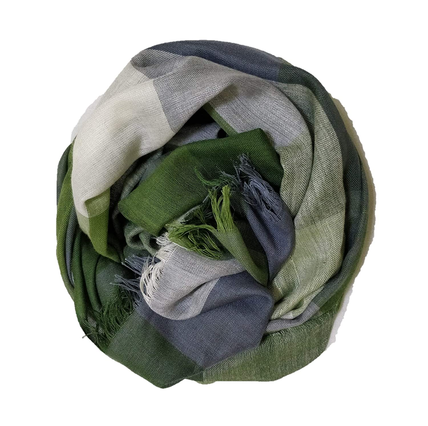 Soft & a Lightweight Women's Trendy In the Shades of Green Grey Checks Viscose Scarf Stole for All Seasons with Fringes.