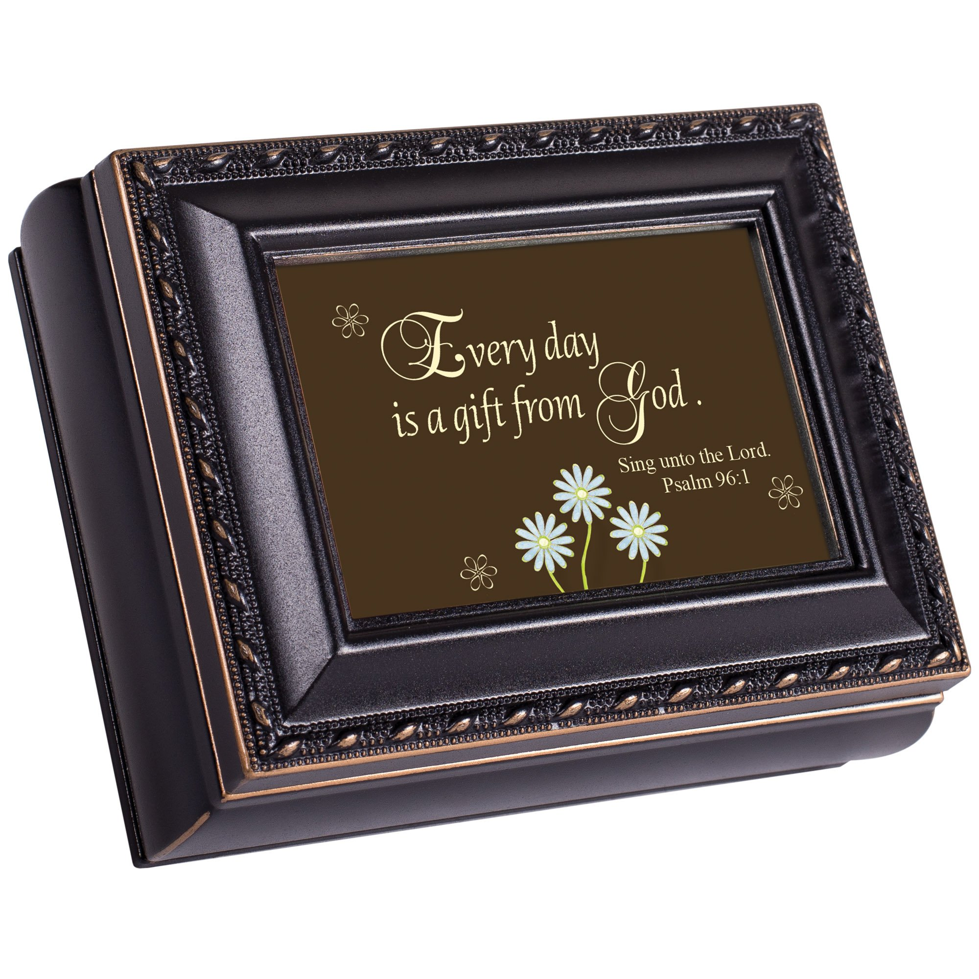 Cottage Garden Everyday Is A Gift Distressed Black Petite Square Jewelry And Keepsake Box