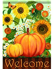 Carson Home Accents Sunflower Pumpkins Trends Classic Large Flag