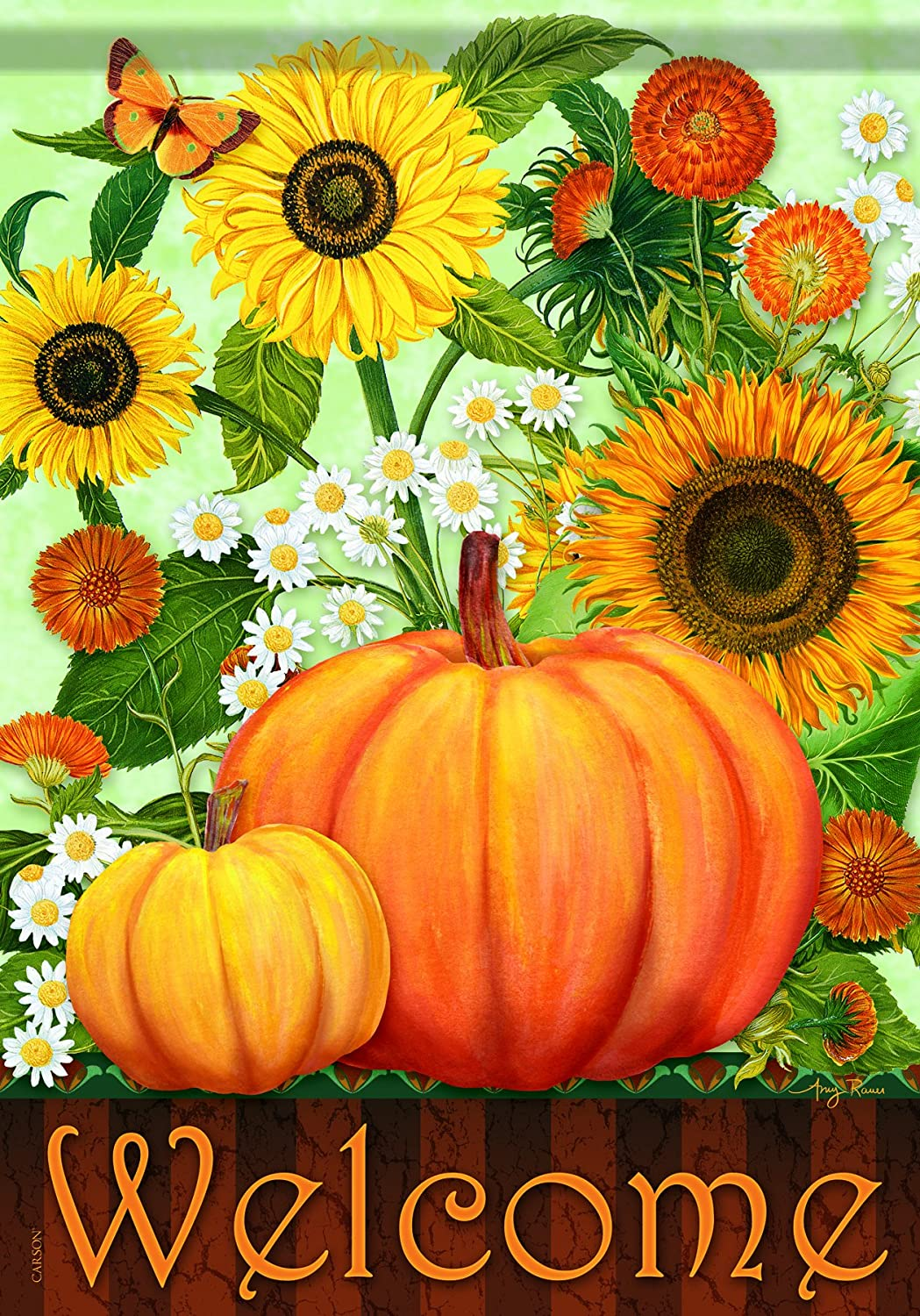 Carson Home Accents Sunflower Pumpkins Trends Classic Large Flag 48248
