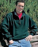 Tri-mountain Cotton/poly 1/4 zip fashion fleece with trim. 682-FOREST GREEN/NAVY