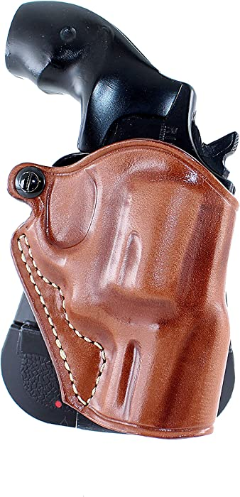 "Premium Leather OWB Paddle Revolver Holster with Open Top fits, Smith Wesson J-Frame 2"" BBL,36,442,649 Bodyguard (Please Choose Your Hand Draw) Brown Color #1056#"