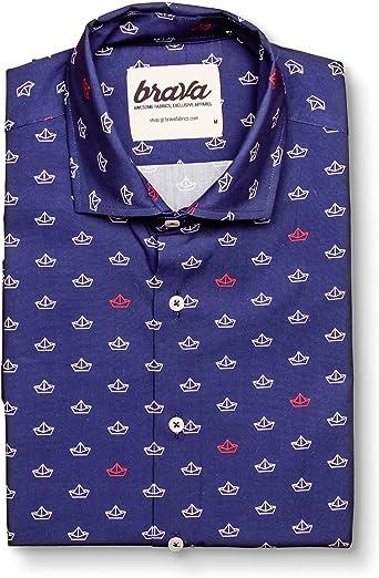 Brava Fabrics | Camisa Hombre Manga Corta Estampada | Camisa Azul para Hombre | Camisa Casual Regular Fit | 100% Algodón | Modelo Paper Boat: Amazon.es: Ropa y accesorios