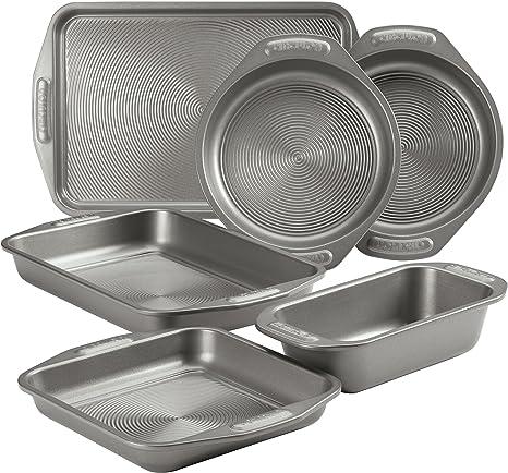 Circulon Total Nonstick Bakeware Set with Nonstick Cookie Sheet, Baking Pan and Bread Pan - 6 Piece, Gray