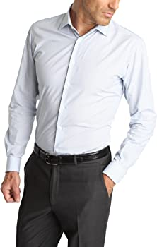 Caramelo, Camisa Vestir Slim Cuello Ingles, Hombre · Azul