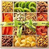 Dried Fruit & Nut Gift Basket in Wooden Tray + Green Ribbon (12 Piece Assortment) - Rosh Hashanah Prime Arrangement Platter,