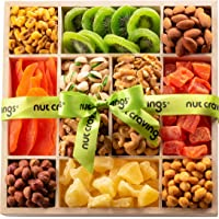 Holiday Dried Fruit & Nut Gift Basket, Wood Tray (12 Mix) - Thanksgiving, Christmas Food Arrangement Platter, Variety…