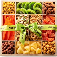 Gourmet Nut & Dried Fruit Wood Tray Gift Basket (12 Mix) - Variety Care Package, Birthday Party Food, Holiday Arrangement Platter - Healthy Snack Box for Families, Women, Men, Adults