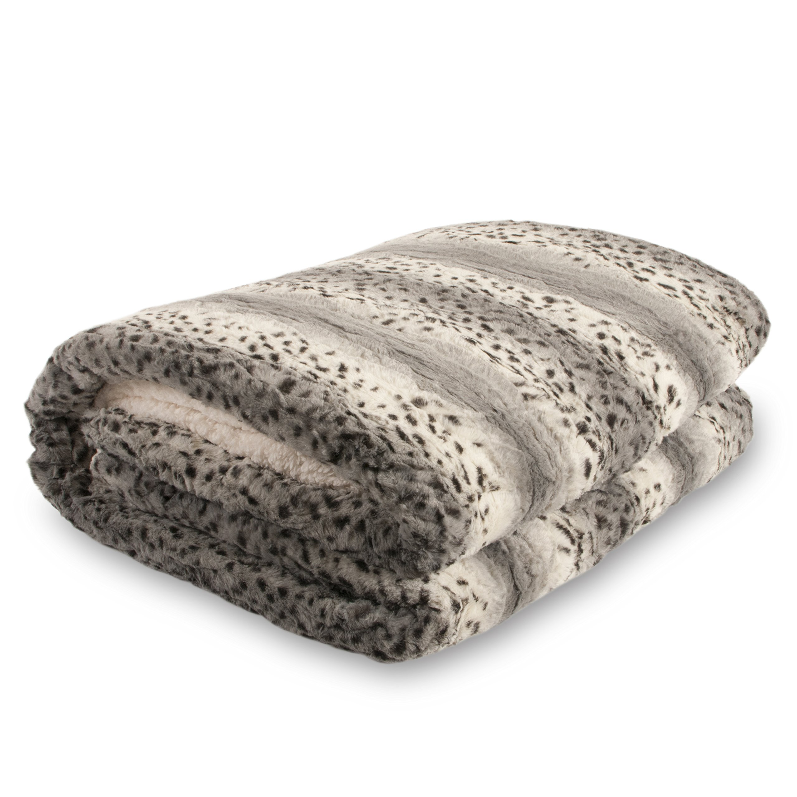 Bellahome Safari Faux Fur Plush Throw Blanket Comforter AK607, Snow Leopard, King