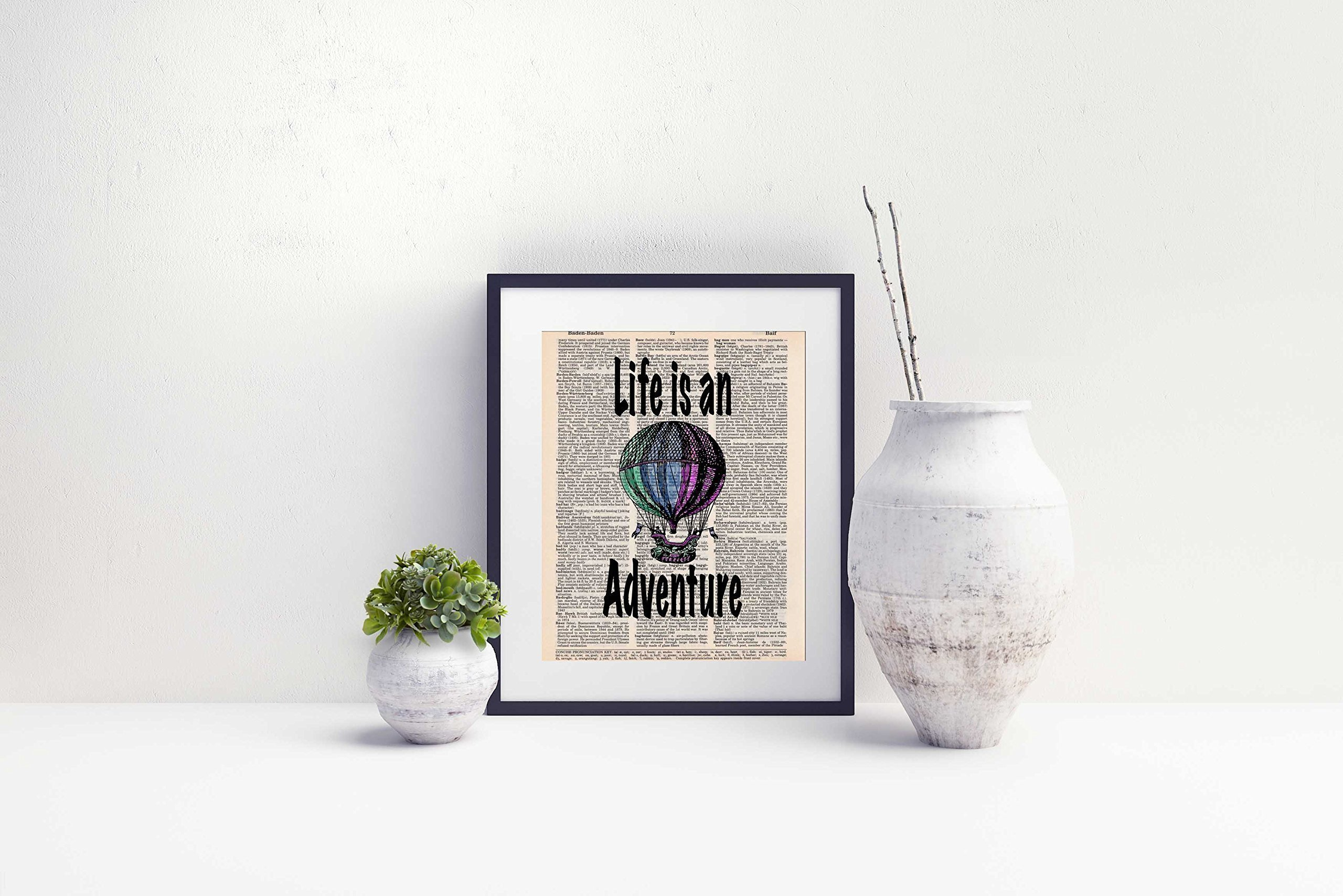 Hot Air Balloon, Life is an Adventure, Travel Wall Art, Dictionary Page Photo Print, 8x10, Unframed 4
