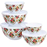 Amazon Basics 10-Piece Mixing Bowl Set with Lids - Non-Slip Base, Red Rose Floral