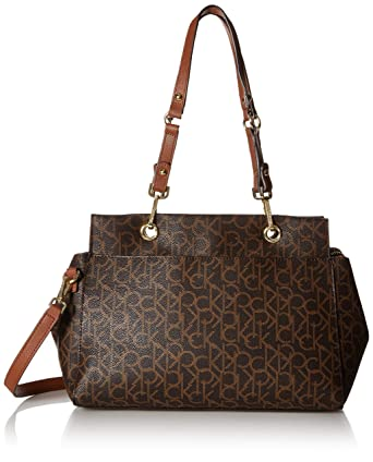 65326be3dc Amazon.com: Calvin Klein Sonoma Signature Monogram Satchel,  brown/khaki/luggage saffiano: Clothing