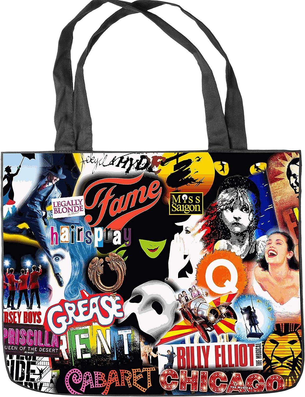 Broadway Musical Collage Tote Bag Shopping Bag Shoulder Handbags Canvas Tote Bag